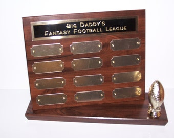Fantasy Football Stand Up Perpetual Plaque Free Engraving