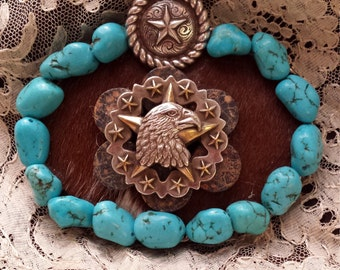 Turquoise cowhide eagle buckle