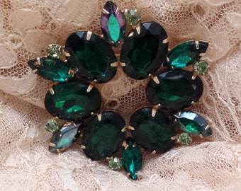 Vintage green cut glass brooch