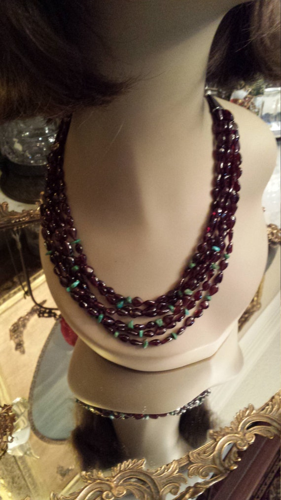 Garnet and turquoise six strand necklace