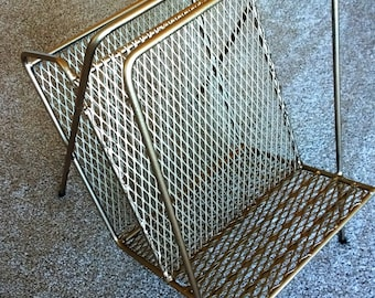 Mid Century Magazine Rack Sturdy Metal in Bronze 1960s