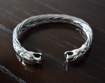 Mens 925 Sterling silver Thick and heavy pumas bracelet handmade.