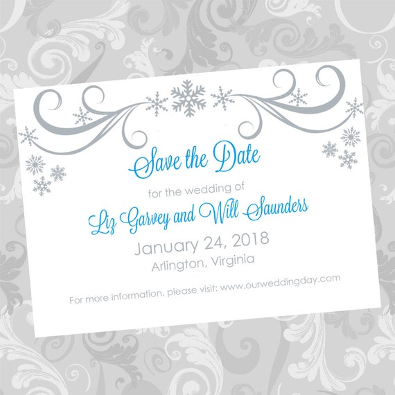Wedding save the date diy template silver swirling snowflakes for Diy save the date magnets template