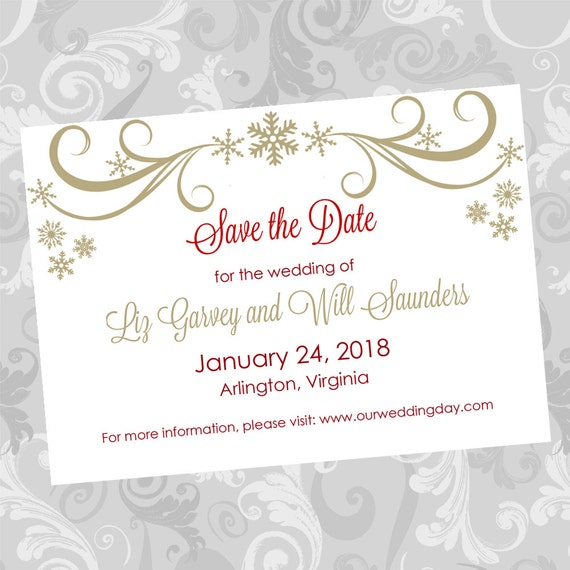 Wedding save the date diy template gold swirling snowflakes for Electronic save the date templates