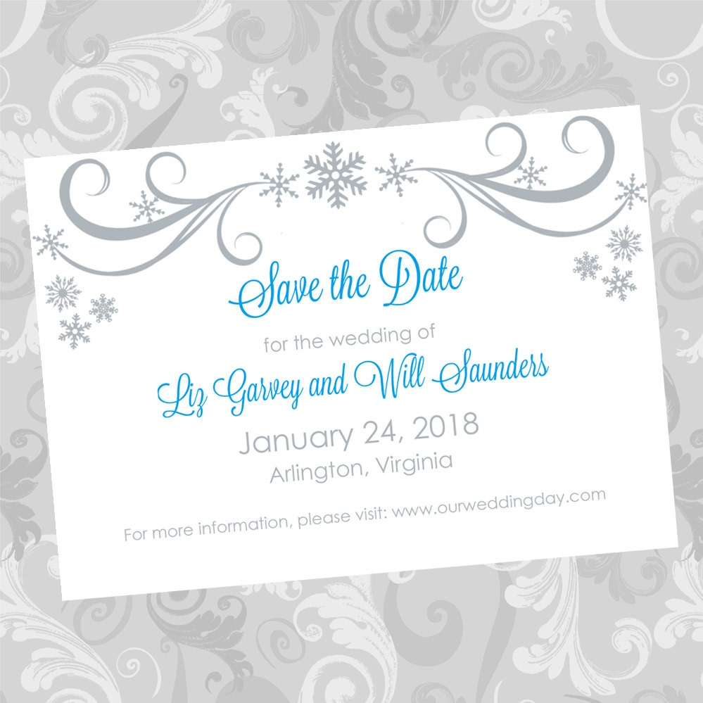 wedding save the date diy template silver swirling snowflakes. Black Bedroom Furniture Sets. Home Design Ideas
