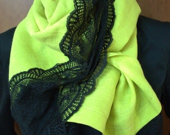 linen scarf  with lace