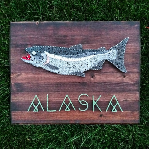 Items similar to chinook salmon fish string and nail art for Fish string art