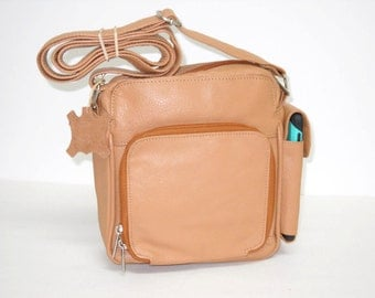 Cross-body Leather Purse with Organizer Pocket