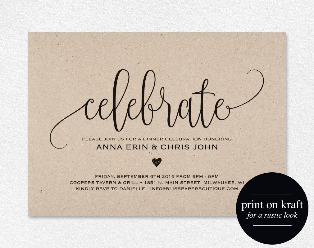 Wedding Celebration Invitation: Celebrate Invitation Printable Dinner Party Printable Party