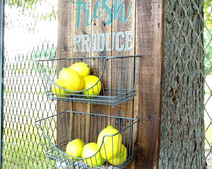 Produce wall holder, wire basket fruit and vegetable storage