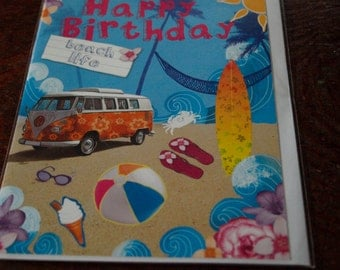 VW Camper Van Birthday Card