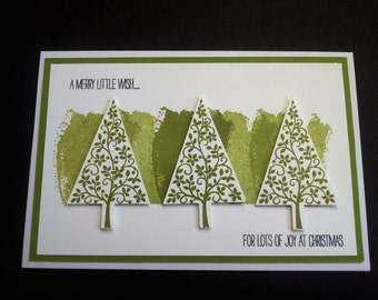 Trio of Trees Olive Green Christmas Card