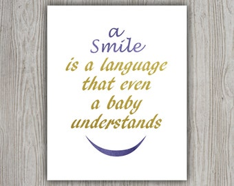 Blue Gold Quote Download Print, Gold Foil Quote Print, Motivational Gift, Watercolor Quote, Gold Foil Print, Smile Print, Positive Thinking