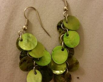 Green Dangle Shell Cluster Earrings