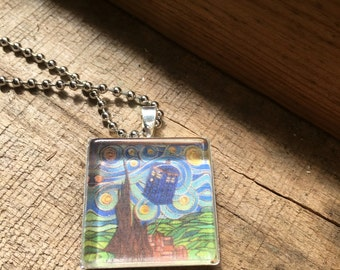 Doctor Who Tardis Van Gogh Art Pendant and Chain Necklace- Original Painting and Beveled Glass