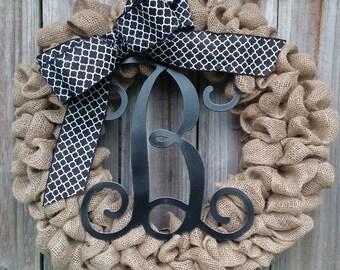 Monogram Burlap Wreath, Wreath With Monogram, Wreath with Initial, Burlap Wreath with Initial, Black Monogram Wreath, Door Wreath, Burlap