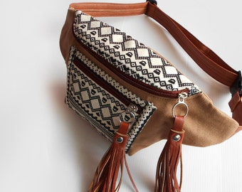 Boho Fanny packs Light Brown Thai Triangle/Hip Bags/belt bag/bum bag/bags/Elephant bags/fanny pack festival/crossbody bag/ buy 3 get 1 free