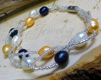 Multi-Strand Genuine Tahitian, Pastel & Freshwater Pearl Bracelet