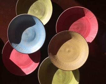 Handmade Ceramic Plate • Saucer • Salad Plate - The Crayon Collection