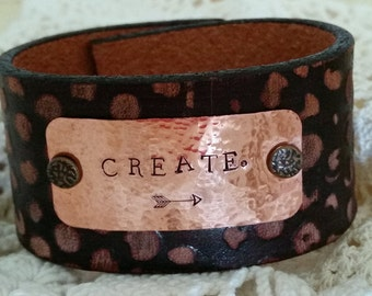 Create, Boho gypsy leather cuff, Hand stamped metal