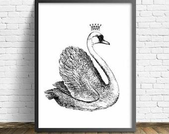 Crowned Swan Print