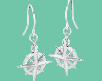 Sterling Silver Compass Rose Earrings