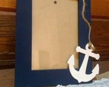 Navy Blue Anchor Picture Frame