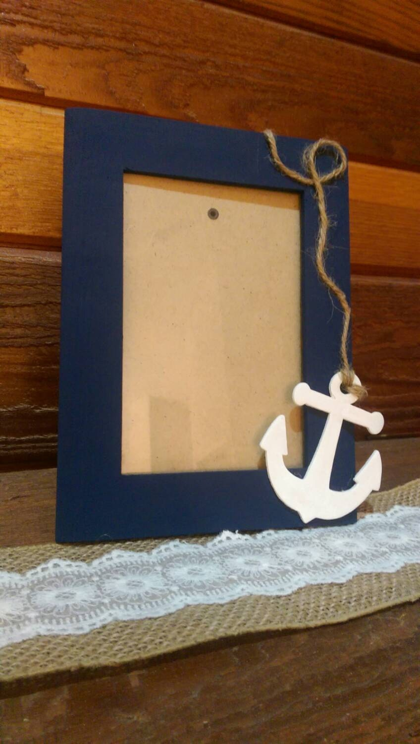 navy blue anchor picture frame by fireproof58 on etsy. Black Bedroom Furniture Sets. Home Design Ideas