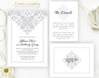 Silver wedding Invitations printed on shimmer cardstock | Elegant wedding invites, Info card, RSVP | Lace wedding invitation packages