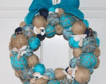 Seaside Yarn Wreath