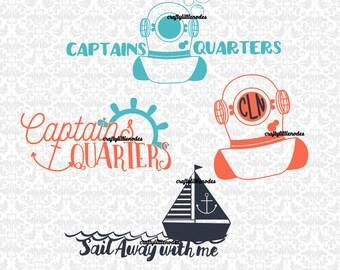 Captains Quarters, Sail Away With Me, Divers Helmet, Anchor Set SVG STUDIO Ai EPS Vector Instant Download COmmercial Use Cricut SIlhouette