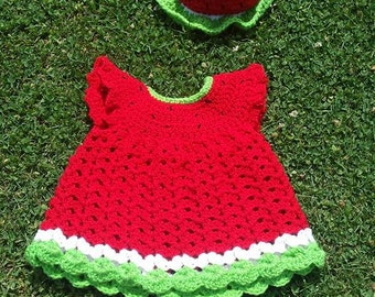 Crochet Watermelon Dress and Hat Set - Outfit, Photograpy Prop, Costume