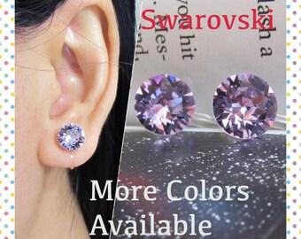 Violet Swarovski Crystal Clip on earring |C3s| June Birthstone Purple Rhinestone Clip Earrings stud Bridal Wedding Clip on Earrings