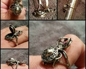 Large Sterling Silver Spider Poison Ring. HALLOWEEN!!