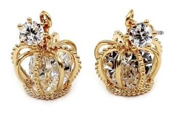 Fashion mini crown crystal earrings