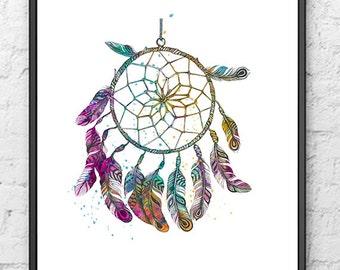 Dream Catcher Watercolor Print, Dream Catcher Poster, Native American Art, Home & Living, Wall Art, Home Decor, Fine Art, Gift Idea - 335