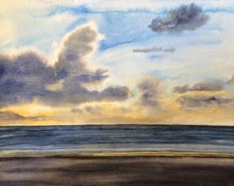 Cannon Beach, cloud painting, sunset painting, Oregon coast, sea painting, beach sunset