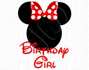 Red Mouse Birthday Girl Iron On - Digital Download - You Print