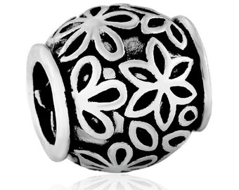 20PCs European Spacer Beads Flower Carved Round Silver Tone 11mmx11mm