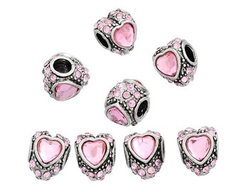 10PCs European Beads With Pink Rhinestone Love Heart Fit Charm Bracelets