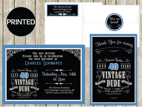 Printed Vintage Dude Adult Milestone 40 Birthday Invitations