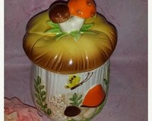 Vintage Mushroom Butterfly Canister * Retro Kitchen * Mushroom Decor* Retro Mushroom Decor