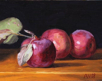 Red Apples Painting, Kitchen Art by Aleksey Vaynshteyn
