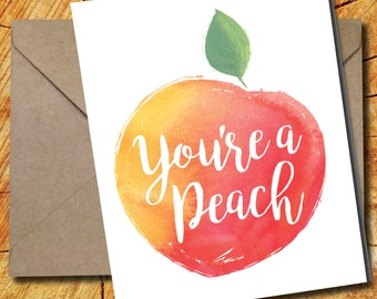 5 You're A Peach Thank You Cards