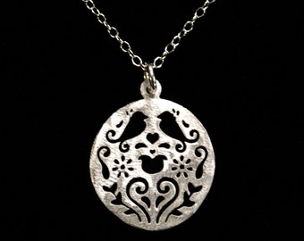 Little Love Birds 925 Brushed Sterling Silver Pendant Necklace by How I Wonder