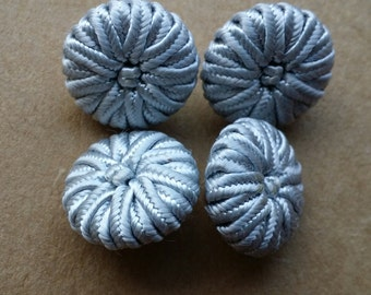 Silver covered braided Buttons, Lot of 4, 12mm
