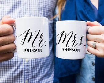 Custom Mr. and Mrs. Coffee Mugs, Coffee Mug, Wedding Gift, Wedding Present, Mr and Mrs Custom Mugs, Wedding Mugs, Bride, Groom, Wedding