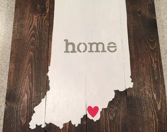 Indiana State Home Sign With Heart