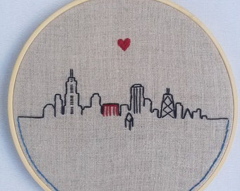 Hand Embroidered Linen Hoop Art - Chicago Skyline - Wall Art
