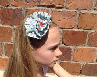 Polka Dot Fabric Flower Elastic Headband